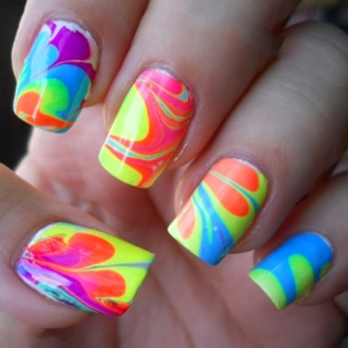 Water marble neon nails