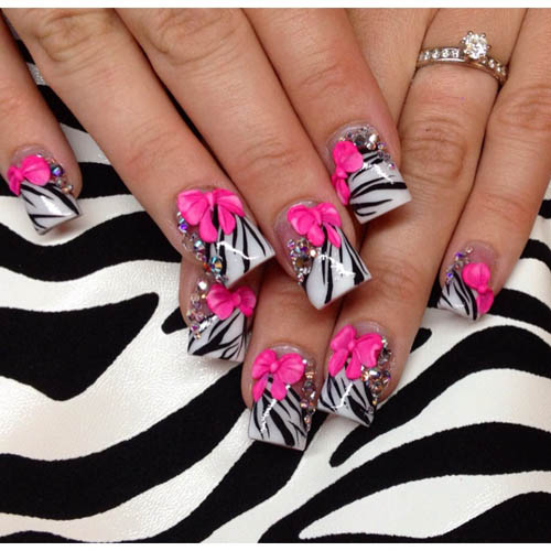 9 best 3d nail art designs with pictures styles at life zebra 3d bow and stones design prinsesfo Image collections
