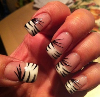 9 best zebra nail art designs with pictures styles at life zebra french nail art like french nails prinsesfo Image collections