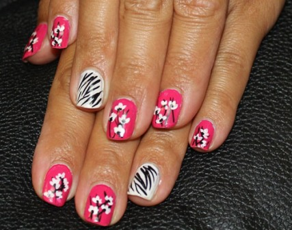 9 best zebra nail art designs with pictures styles at life if you like french tips then combine them with floral water decals and some striping for the zebra pattern a little change from normal french tips prinsesfo Images