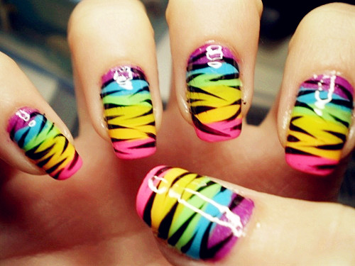 Zebra rainbow neon nails