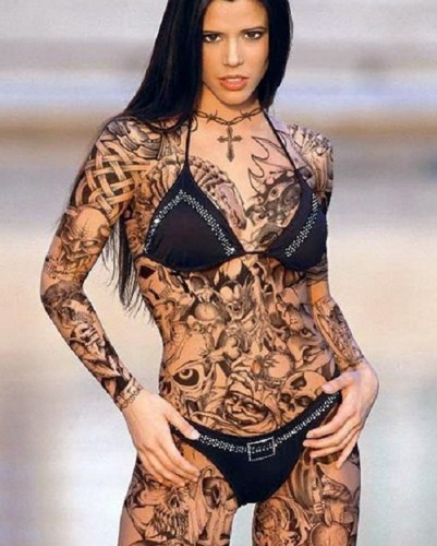 black ink body art tattoo design