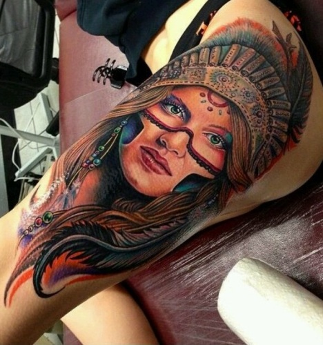 colorful Native American Indian tattoo