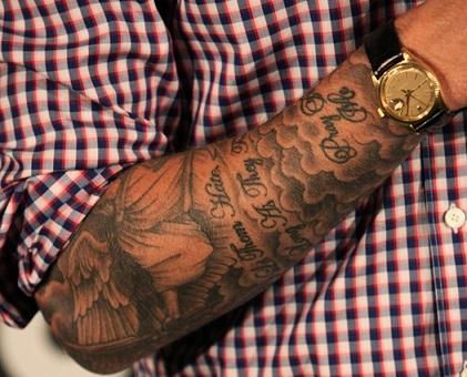 15 stylish david beckham tattoo designs styles at life. Black Bedroom Furniture Sets. Home Design Ideas