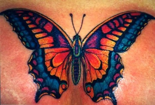 facc32baaa303 The tattoo artists made an application of multiple colors. The multicolored butterfly  tattoo designs are one ...