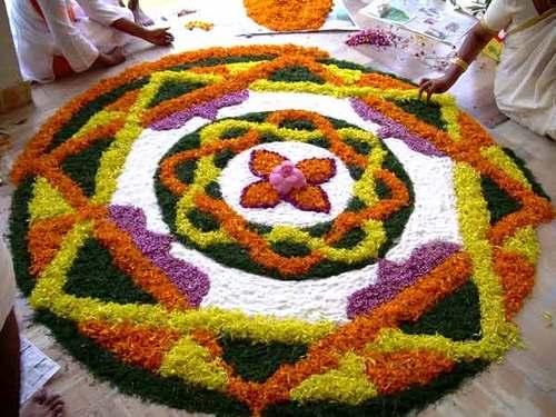Multi Coloured Flower Rangoli