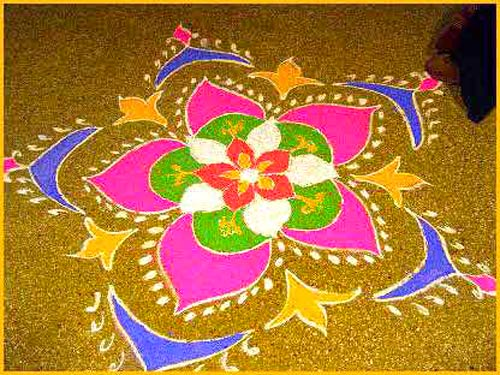 Alpana diwali designs home decoration live for Floor rangoli design