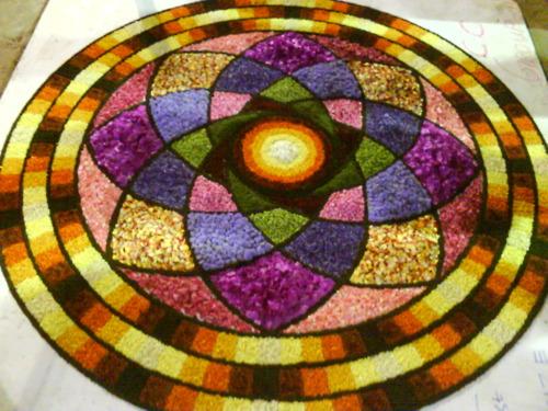 Best Flower Rangoli Design With Petals