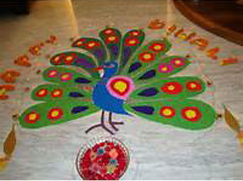 Peacock Rangoli With Feathers