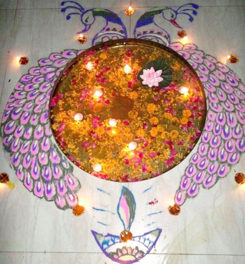 Peacock Rangoli Design For Diwali Festival