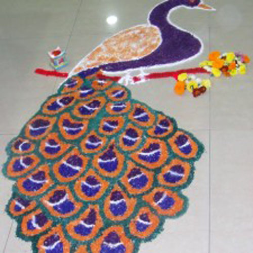 Simple Peacock Rangoli Designs