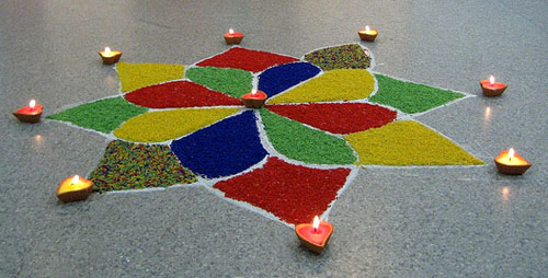 Simple Diya Rangoli Design With Different Colors