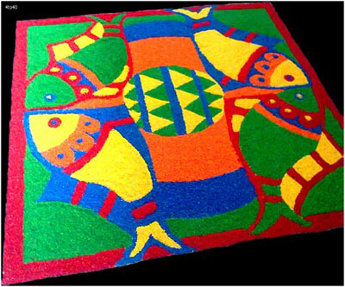 Fish Pattern Rangoli Design