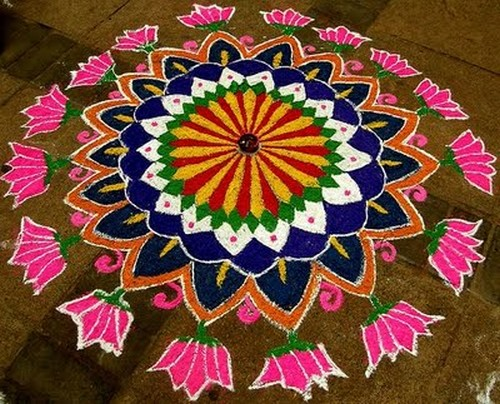 Lotus Rangoli Designs For Pooja