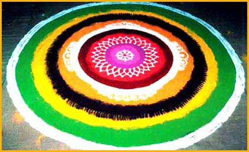 Circle Rangoli Designs With Different Colors