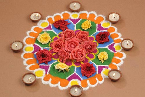 Flower And Diya's Rangoli Design