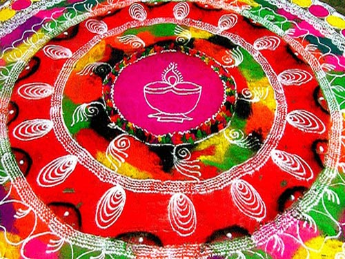 25 luminous diwali rangoli designs with lamps and colours