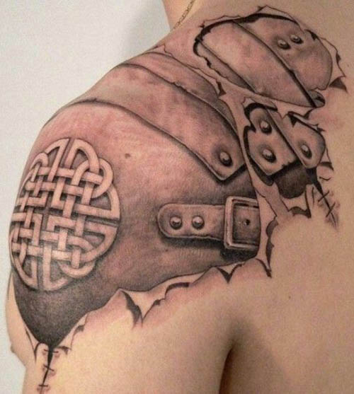 A Chilling Armour Shoulder Tattoo Design for Men