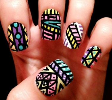 100 beautiful and best nail art designs for beginners at home a different type tribal nail art styles tribal prinsesfo Gallery