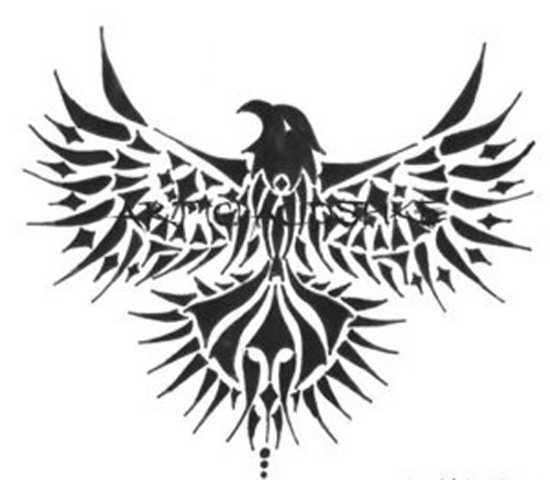 A tribal eagle with spread wings