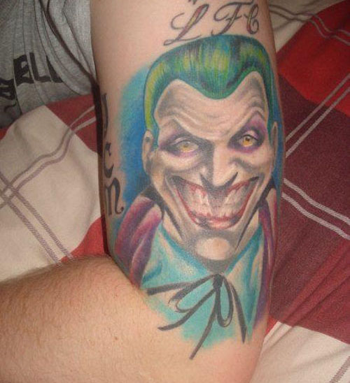 A typical joker tattoo