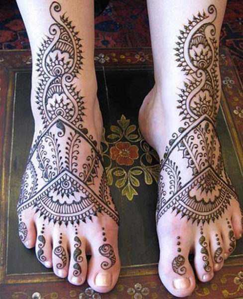 Mehndi Tattoo Designs For Leg : Trendy foot mehndi designs with pictures style at life