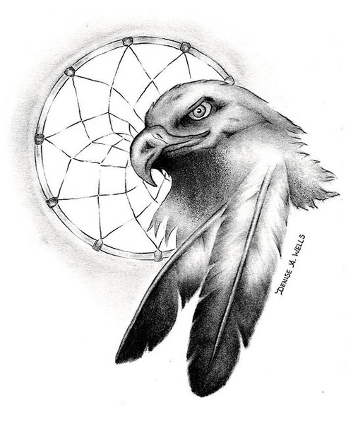 An eagle with a dreamcatcher
