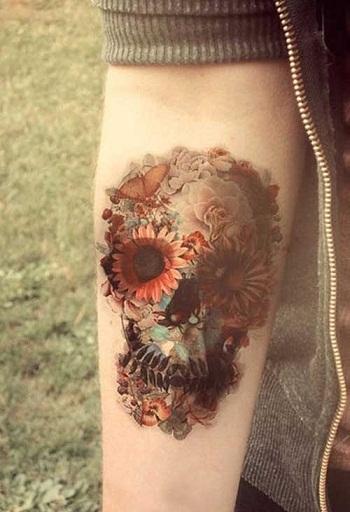 artistic-flower-skull-tattoo-for-girls