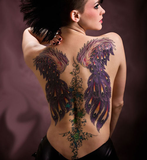 Back Tattoos for Women Abstract Wings