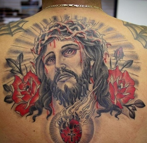 jesus tattoo with flowers