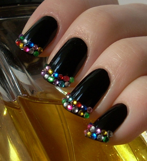 Black Tip Nail Polish Art With Colorful Studs On The Tips