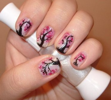 9 best cherry blossom nail art designs styles at life cherry blossom tree effect nail art why prinsesfo Gallery