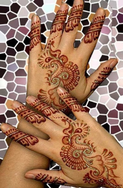 colourful back hand mehndi design