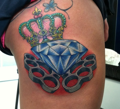 Queen Crown Tattoo With Diamond