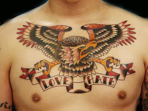 Eagle tattoo with words