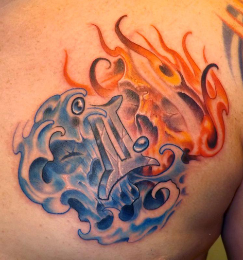 Fire and Water Gemini Tattoo