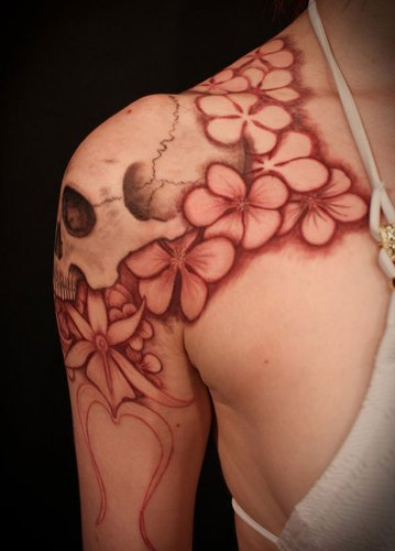 Floral Colours Shoulder Tattoo