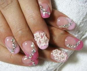 9 best rhinestone nail art designs styles at life floral rhinestone nail art flowers prinsesfo Choice Image