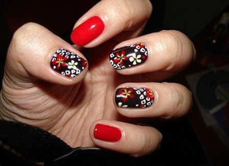 Floral Red Nail Art Design This