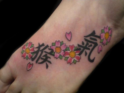 Foot Flower Tattoo with Kanji Design
