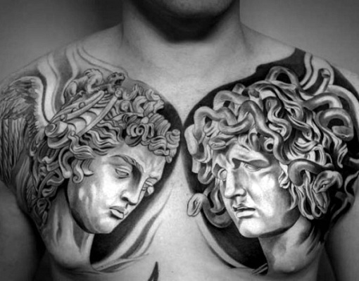 15 best greek tattoos designs and their meanings for Black and grey chest tattoos