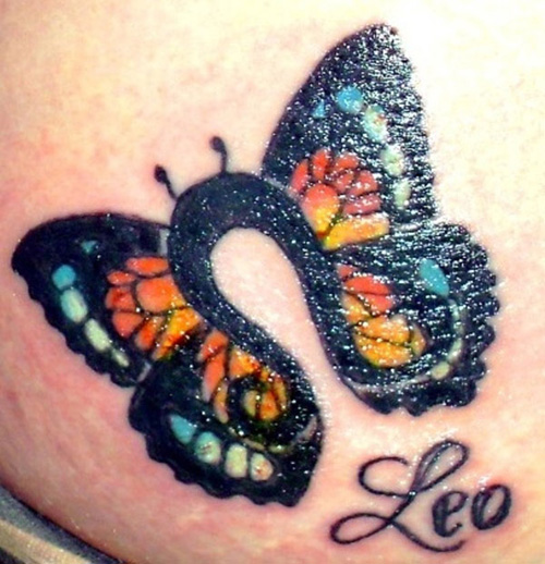 Leo Butterfly Tattoo