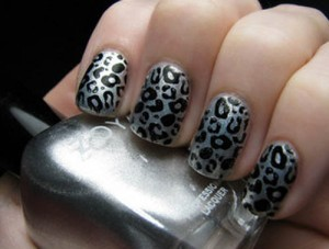 Leopard Silver Nail Art The