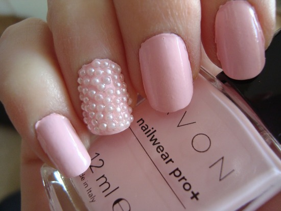 Light Pink Nail art with Rhine stones
