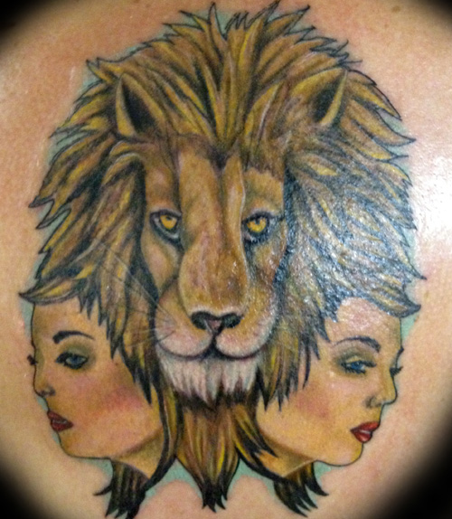 Lion with Two Faces Tattoo