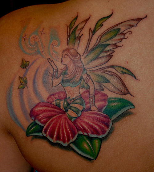15 pretty fairy tattoo designs with names and meanings for Hibiscus flower tattoo shoulder blade