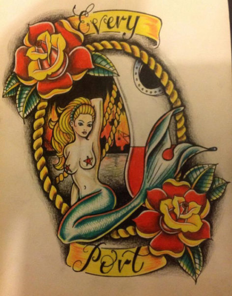 Old School Mermaid Tattoo