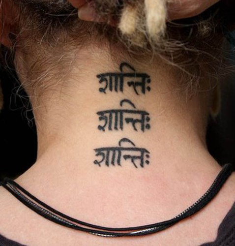 sanskrit tattoo on neck