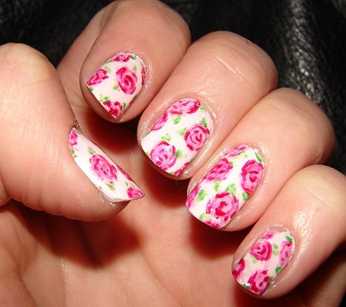 Pretty Pink Rose Nail Art