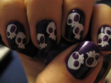 9 best skull nail art designs styles at life purple skull nail art this prinsesfo Images